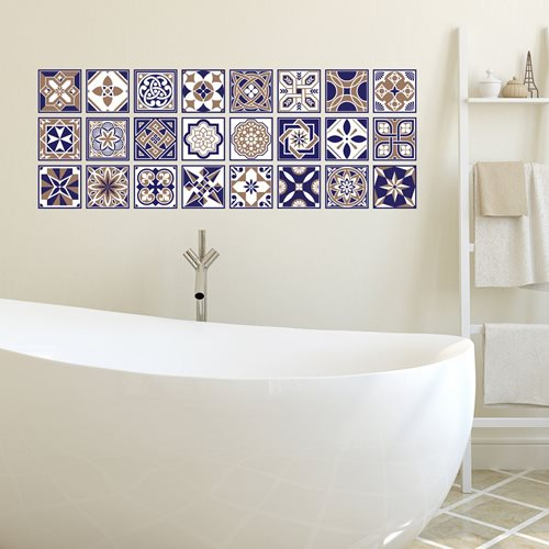 Walplus Royal - Wall Sticker/Tile Sticker - Blue - 10x10 cm - 24 pieces