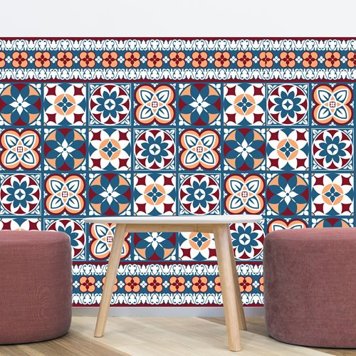 Walplus Talavera - Wall Sticker/Tile Sticker - Red and Blue - 10x10 cm - 24 pieces