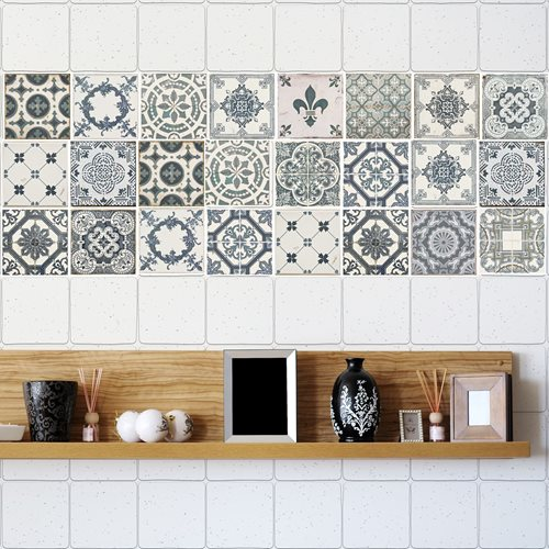 Walplus Azulejo - Wall Sticker/Tile Sticker - Vintage Blue - 10x10 cm - 24 pieces