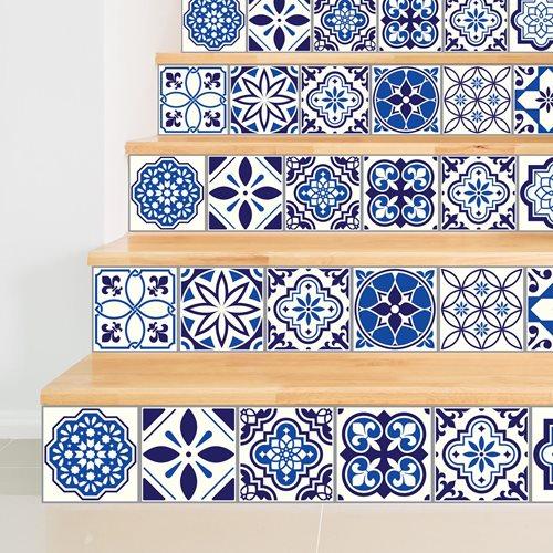 Walplus Spanisch und Marokkanisch Mosaik - Wandaufkleber/Treppenaufkleber - Blau - 15x15 cm - 24 Stücke