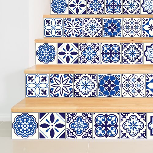 Walplus Spanish and Moroccan Mosaic - Wall Sticker/Stair Sticker - Blue - 15x15 cm - 24 pieces