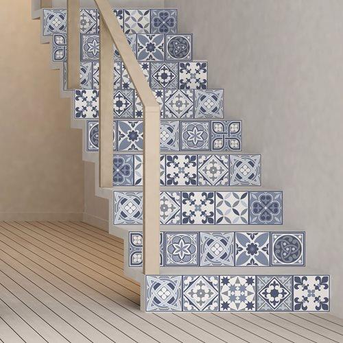 Walplus Lisbon - Wandaufkleber/Treppenaufkleber - Blau - 15x15 cm - 24 Stücke