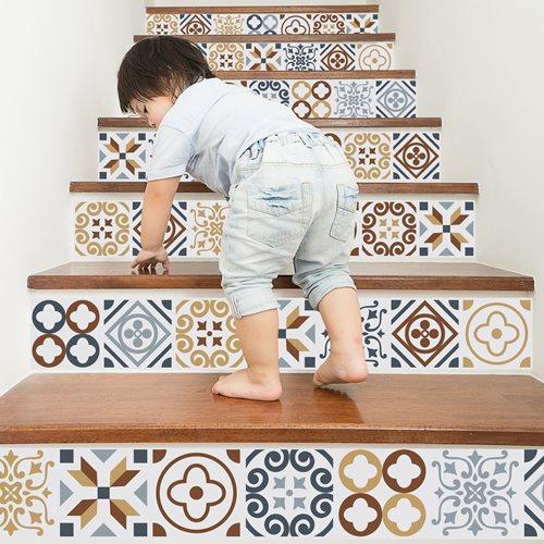 Walplus Azulejo - Wall Sticker/Stair Sticker - 15x15 cm - 24 pieces