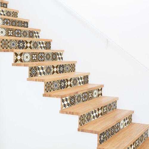 Walplus Dunkle Bronze Mosaik - Wandaufkleber/Treppenaufkleber - Bronze - 15x15 cm - 24 Stücke
