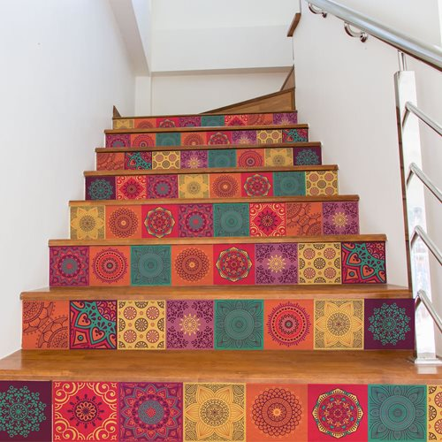 Walplus Kleurrijke Mandala - Muursticker/Trapsticker - 15x15 cm - 24 stuks