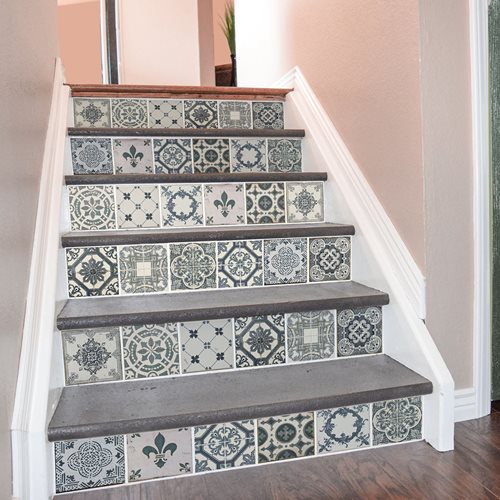 Walplus Azulejo - Wall Sticker/Stair Sticker - Vintage Blue - 15x15 cm - 24 pieces