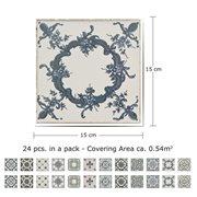 Walplus Azulejo - Wall Sticker/Stair Sticker - Vintage Blue - 15x15 cm - 24 pieces