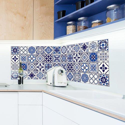 Walplus Spanisch und Marokkanisch Mosaik - Wandaufkleber/Fliesenaufkleber - Blau - 20x20 cm - 12 Stücke