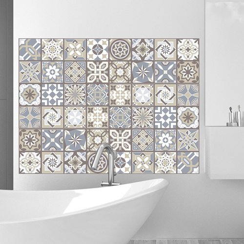 Walplus Spanish Limestone - Wall Sticker/Tile Sticker - 20x20 cm - 12 pieces