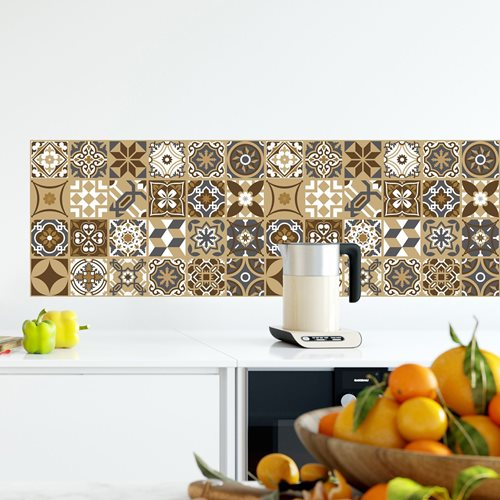 Walplus Dark Bronze Mosaic - Wall Sticker/Tile Sticker - Bronze - 20x20 cm - 12 pieces