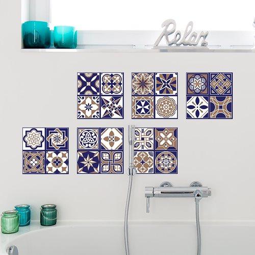 Walplus Royal - Wall Sticker/Tile Sticker - Blue - 20x20 cm - 12 pieces