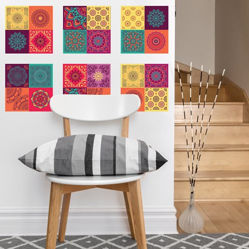 Walplus Kleurrijke Mandala - Muursticker/Tegelsticker - 20x20 cm - 12 stuks