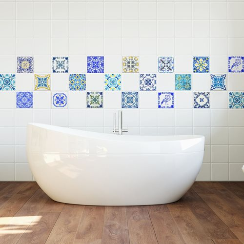 Walplus Mediterran Mosaik - Wandaufkleber/Fliesenaufkleber - Klassisch Blau - 10x10 cm - 24 Stücke