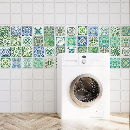 Walplus Turkish Mosaic - Wall Sticker/Tile Sticker - Green - 10x10 cm - 24 pieces