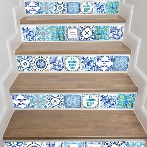 Walplus French Quote - Wall Sticker/Stair Sticker - Classic Blauw - 15x15 cm - 24 pieces