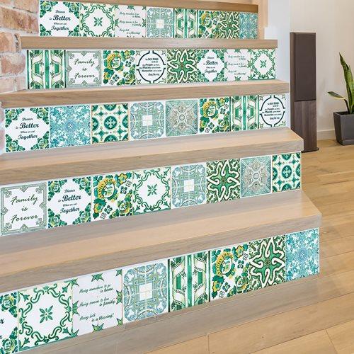 Walplus English Quote - Wall Sticker/Stair Sticker - Vintage Green - 15x15 cm - 24 pieces