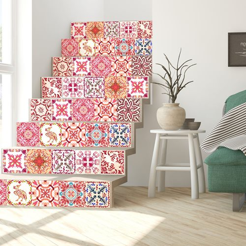 Walplus Moroccan Mosaic - Wall Sticker/Stair Sticker - 15x15 cm - 24 pieces