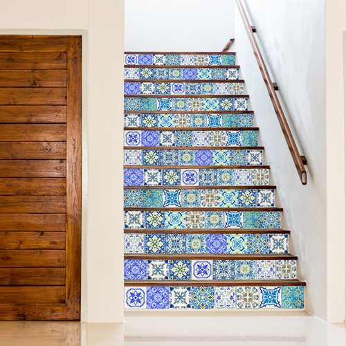 Walplus Mediterranean Mosaic - Wall Sticker/Stair Sticker - Classic Blue - 15x15 cm - 24 pieces