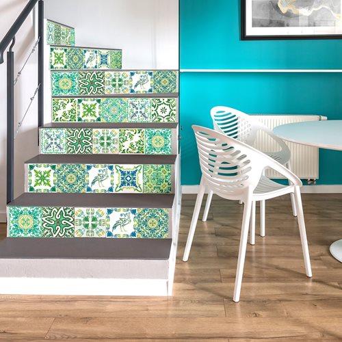 Walplus Turkish Mosaic - Wall Sticker/Stair Sticker - Green - 15x15 cm - 24 pieces