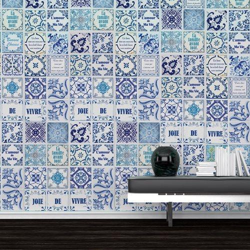 Walplus French Quote - Wall Sticker/Tile Sticker - Classic Blue - 20x20 cm - 12 pieces
