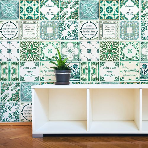 Walplus French Quote - Wall Sticker/Tile Sticker - Classic Green - 20x20 cm - 12 pieces