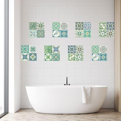 Walplus Turkish Mosaic - Wall Sticker/Tile Sticker - Green - 20x20 cm - 12 pieces