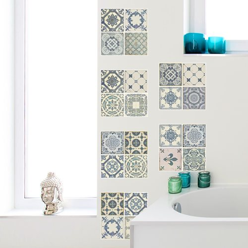 Walplus Azulejo - Wall Sticker/Tile Sticker - Vintage Blue - 20x20 cm - 12 pieces