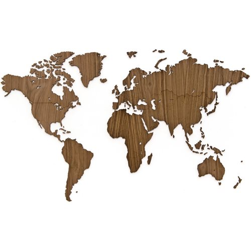 MiMi Innovations Exclusive Wooden World Map - Wall Decoration - 130x78 cm/51.2x30.8 inch - Walnut