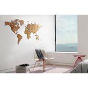 MiMi Innovations Exclusive Wooden World Map - Wall Decoration - 130x78 cm/51.2x30.8 inch - Walnut