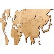 MiMi Innovations Exclusive Wooden World Map - Wall Decoration - 130x78 cm/51.2x30.8 inch - Oak