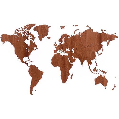 MiMi Innovations Exclusieve Houten Wereldkaart - Muurdecoratie - 130x78 cm/51.2x30.8 inch - Sapele
