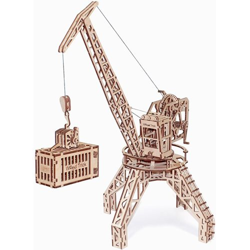 Wood Trick Wooden Model Kit - Crane with Container