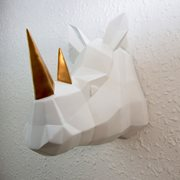 Walplus Rhino - Wall Decoration - Geometric - White/Gold