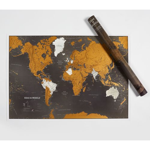 Maps International Kras de Wereld - Wereldkaart - Nederlands - Zwarte Editie