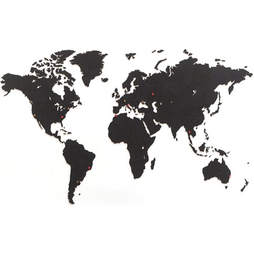 MiMi Innovations Luxury Wooden World Map - Wall Decoration - True Puzzle - 150x90 cm/59.1x35.4 inch - Black