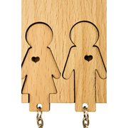 MiMi Innovations Wooden Key Holder with Set of Key Chains - Boy & Girl