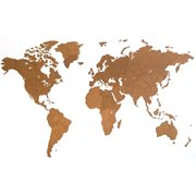 MiMi Innovations Giant Wooden World Map - Wall Decoration - 280x170 cm/110.2x66.9 inch - Brown