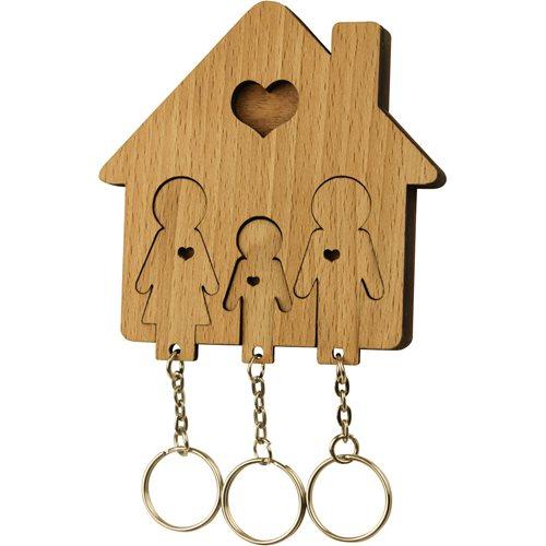 MiMi Innovations Holzset Schlüsselbrett mit Schlüsselanhänger - Familie mit Sohn
