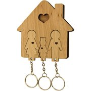 MiMi Innovations Wooden Key Holder with Set of Key Chains - Family with Daughter