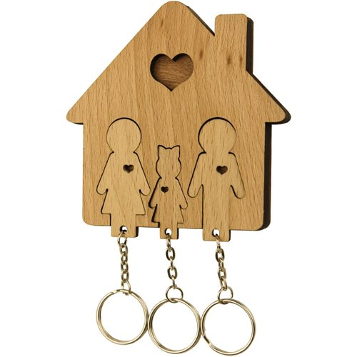 MiMi Innovations Holzset Schlüsselbrett mit Schlüsselanhänger - Familie mit Tochter