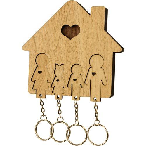 MiMi Innovations Holzset Schlüsselbrett mit Schlüsselanhänger - Familie mit Tochter und Sohn
