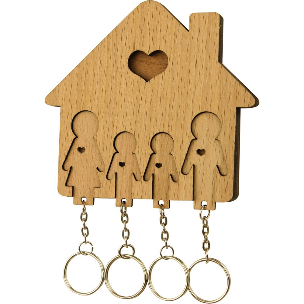 MiMi Innovations Wooden Key Holder with Set of Key Chains - Family with 2 Sons