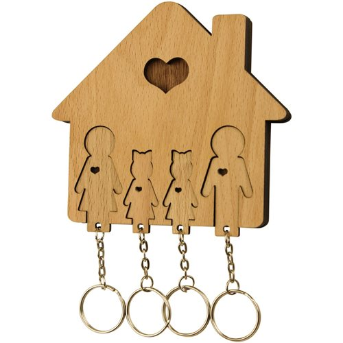 MiMi Innovations Wooden Key Holder with Set of Key Chains - Family with 2 Daughters