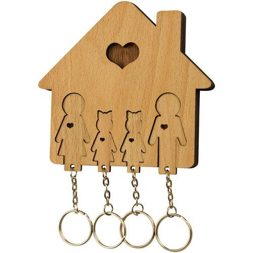 MiMi Innovations Holzset Schlüsselbrett mit Schlüsselanhänger - Familie mit 2 Töchtern