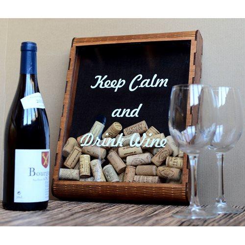 MiMi Innovations Wooden Wine Cork Shadow Box - 35x27x5.5 cm/13.8x10.6x2.2 inch
