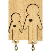 MiMi Innovations Wooden Key Holder with Set of Key Chains - Family with Son