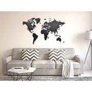MiMi Innovations Luxury Holz Weltkarte - Wanddekoration - 130x78 cm/51.2x30.8 Inch - Schwarz