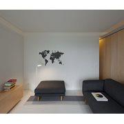 MiMi Innovations Luxe Houten Wereldkaart - Muurdecoratie - 130x78 cm/51.2x30.8 inch - Zwart