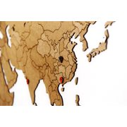 MiMi Innovations Luxury Wooden World Map - Wall Decoration - True Puzzle - 150x90 cm/59.1x35.4 inch - Brown