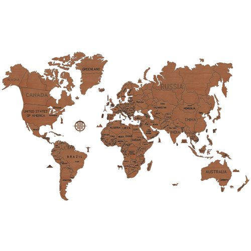 Wooden City World Map XXL - Wooden Model Kit - 200x120 cm - Dark Oak